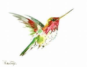 Flying Hummingbird Painting by Suren Nersisyan