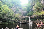 Seven Sacred Pools with Large Pool in Foreground and Road to Hana Bridge in Background - Picture ...