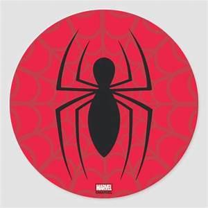 Spider-Man Skinny Spider Logo Classic Round Sticker ...
