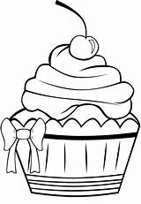Coloring Birthday Pages Cupcake Cupcakes Clipart Panda Pretty Cookie sketch template