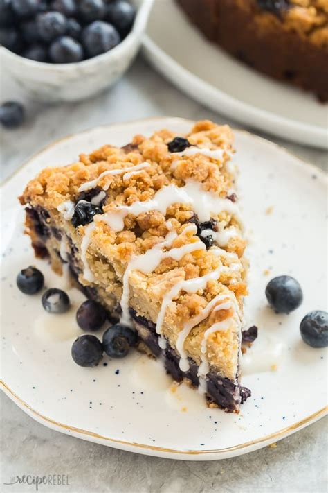 Drop spoonfuls of remaining dough on top of filling. Blueberry Coffee Cake with Brown Sugar Streusel - The Recipe Rebel