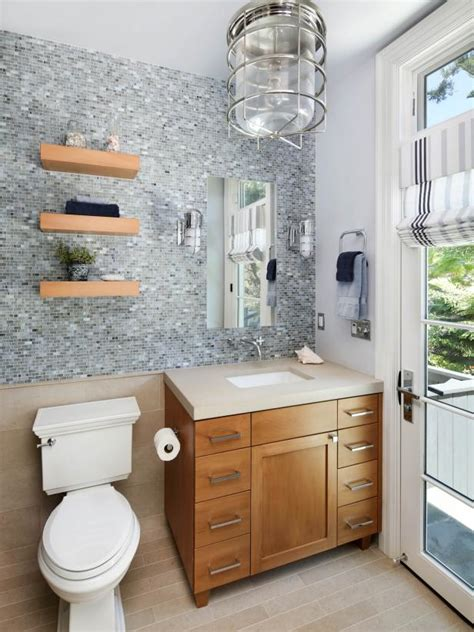 coastal transitional bathroom  beech wood vanity hgtv