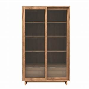 wave g vitrine ethnicraft en bois portes coulissantes en With porte coulissante en bois et verre