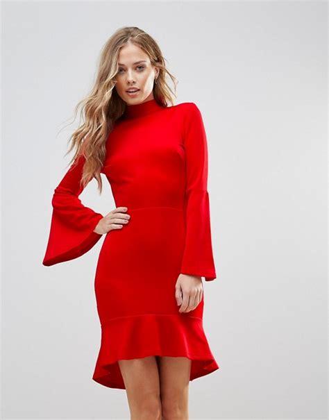 love pephem midi jurk met wijduitlopende mouwen asos