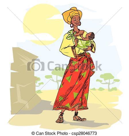 cuisine sud africaine illustrazioni vettoriali di bambino donna africano