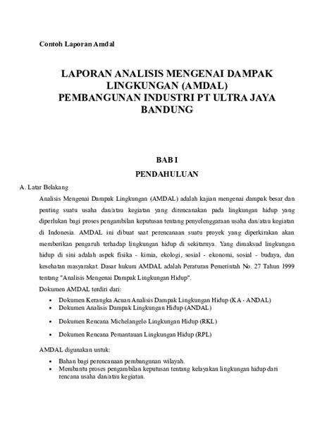 (PDF) LAPORAN ANALISIS MENGENAI DAMPAK LINGKUNGAN (AMDAL