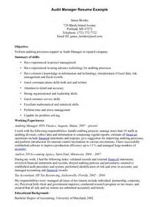 audit resume exle free printable audit manager resume sle displaying simple objective and summary of skills