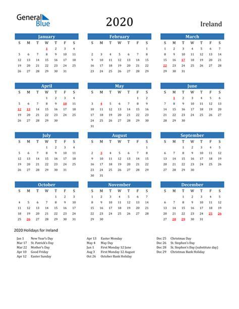 calendar ireland  holidays