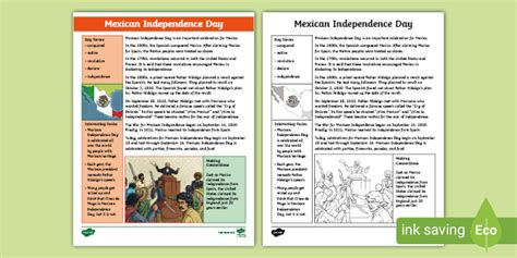 Third Grade Mexican Independence Day Fact File