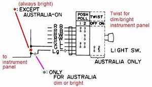 Headlight Switch Wiring Diagram   Datsun 1200 Club