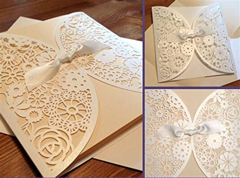 diy laser cut lace vintage flower wedding invitation