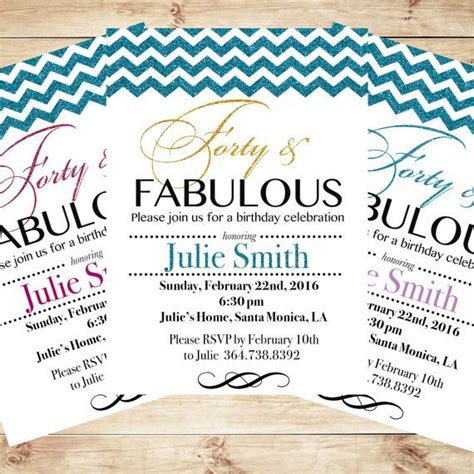 Personalized 40th Birthday Invitations forty and fabulous