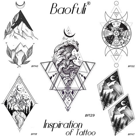 baofuli men geometry planets great waves temporary tattoo stickers crescent triangle waterproof