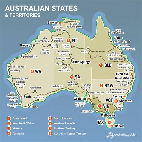 Australia has a relatively sparse population density, wi. Australian States And Territories Map   Printable Map