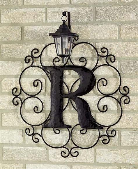 metal monogram solar light wall art hanging decor scrollwork frame  letters ebay outdoor