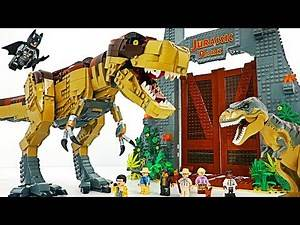 Lego Jurassic Park T. Rex Rampage! Batman! Defeat gigantic dinosaur! #DuDuPopTOY