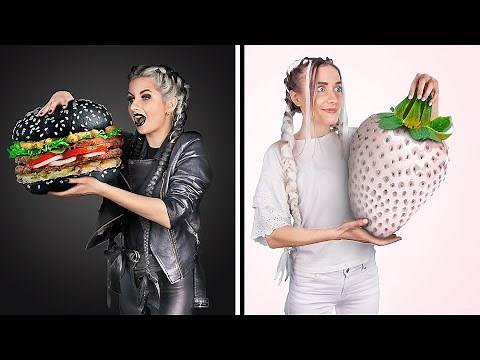 Black and White Challenge! Eating And Buying Everything In One Color For 24 Hours
