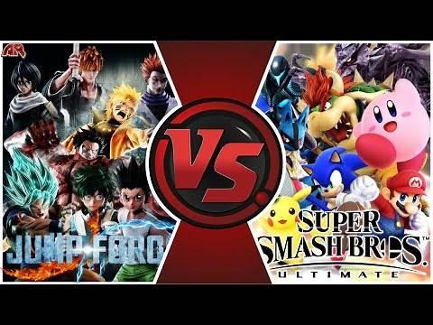 SMASH ULTIMATE vs JUMP FORCE! Total War! (Mario, Sonic vs Goku, Naruto) Cartoon Fight Club Movie