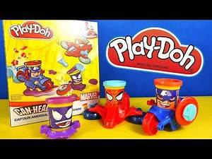 Captain America, Spider-Man & Venom - CAN-HEADS - MARVEL - Play-Doh - Unboxing by TheSurpriseEggs