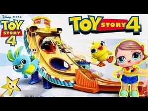 TOY STORY 4 BUZZ LIGHTYEAR CARNIVAL RESCUE GAME w/ Custom Bonnie Doll + SURPRISE TOYS