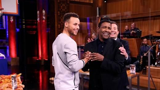 Tonight Show: Jimmy Fallon Season 5 Episode 32 Random Object Shootout with Denzel Washington and Steph