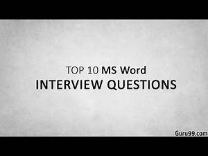 Top 5 MS Office (Microsoft Word ) Interview Questions and Answers