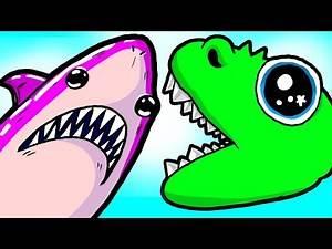 """My Cute Shark Attack Cartoon #52 (Shark-Copter vs. Dino-Copter!!! BEST OF!!)"
