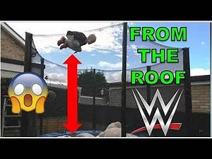 WWE MOVES OFF ROOF OF GARAGE - BEST WWE FINISHERS ON TRAMPOLINE WRESTLING