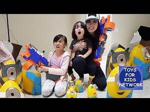Minion Rush! Shoot the DIY Minion Surprise Easter Egg Toys For Kids! Fun Games With Family!