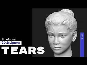 TEARS - Crying Girl Face 3D Sculpture ZBrush || speedpaint timelapse #kart2