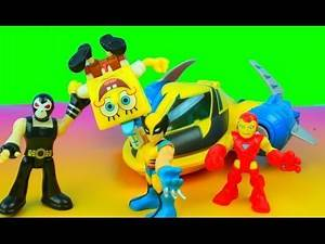 Marvel Super Hero Adventures PlaySkool Heroes Rescue Jet IronMan & Wolverine Bane takes Spongebob