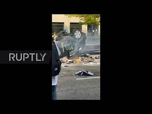 USA: Man beaten up after aiming bow at protesters in Salt Lake City