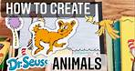 How to Create Dr Seuss ANIMALS - Easy Art Project for kids w/ his BOOKS ! #drseuess #mrschuettesart