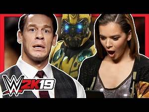 John Cena and Hailee Steinfeld react to their Bumblebee characters in WWE 2K19