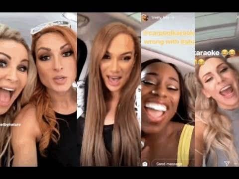WWE Carpool Kareoke BTS ft. Becky Lynch, Charlotte, Nia Jax, Naomi & Natalya