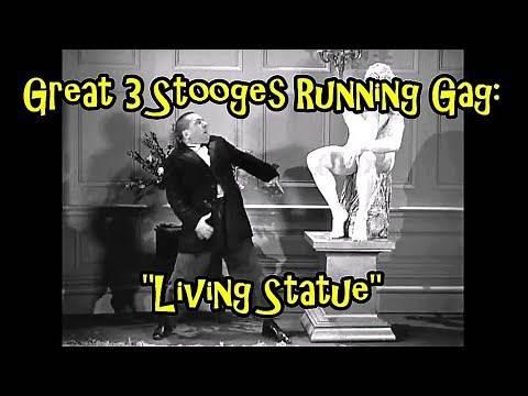 "Great 3 Stooges Running Gag: ""Living Statue"""