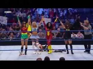 10/29/10 Divas Halloween Contest kelly k melina the bella twins vs laycool alicia f and rosa m
