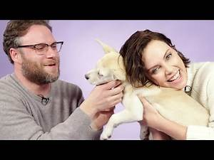 Seth Rogen and Charlize Theron Play With Puppies While Answering Fan Questions