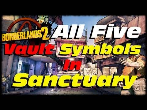 Borderlands 2 How to Find All 5 Vault Symbols In Sanctuary Locations Guide (1080p)