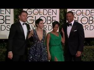 Channing & Jenna Tatum and Will & Jada Pinkett Smith Golden Globe Awards Fashion Arrivals (2016)