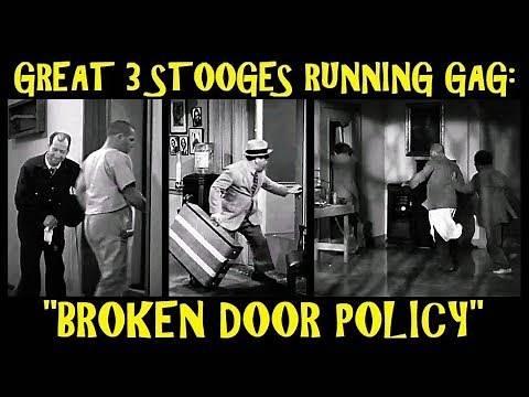 """Great 3 Stooges Running Gag: """"Broken Door Policy"""""""