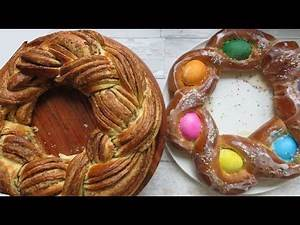 Easter Bread Wreaths - Colorful easter egg wreath and cinnamon poppy bread