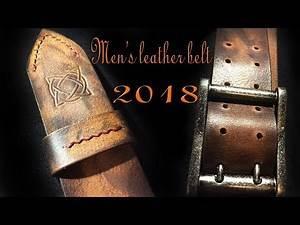 Making men's leather belt. Bull leather, full handmade.