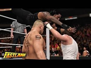 WWE Fastlane 2016 - Roman Reigns vs Brock Lesnar vs Dean Ambrose Triple threat Match - WWE 2K16