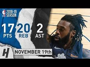 DeAndre Jordan Full Highlights Mavericks vs Grizzlies 2018.11.19 - 17 Pts, 2 Ast, 20 Rebounds!