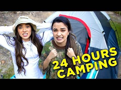 24 Hour Overnight Camping Challenge in Our Back Yard - Merrell Twins