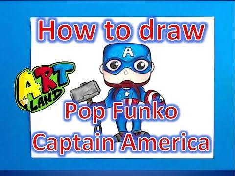 How to draw Pop Funko Captain America with Thor's Hammer