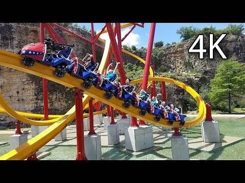 Wonder Woman Golden Lasso Coaster 4K off-ride Six Flags Fiesta Texas