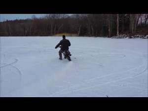 Rippin The Dirt Bike On The Ice - Funny Crash!