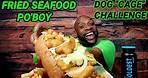 "FRIED SEAFOOD PO'BOY MUKBANG 해물먹방 ... DOG ""CAGE"" CHALLENGE BY THE MUKBANG B.U.L.L.S. EATING SHOW 먹방"